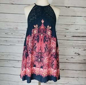 Free People Shea Printed Mini Dress Navy Red S New